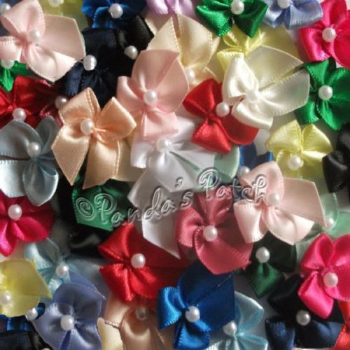 Satin Ribbon Bows with Single Pearl